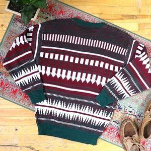 Vintage burgundy green Aztec Fair Isle sweater
